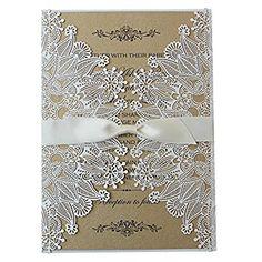White Lace Invitation, Rustic Wedding Invitation, Unique Custom Printing Wedding Invitation Cards - Set of 50