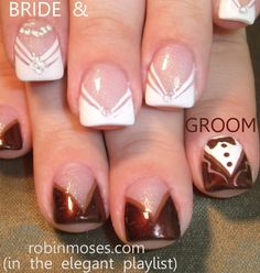 Nail-art by Robin Moses - Bride and Groom buddies! Perfect for Formal Events and Weddings! (tutorial in my playlist of videos on pinterest!)