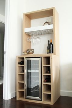 White Oak Bar With Built In Wine Cooler And Glass Rack