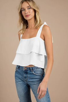 Looking for the Tie The Knot White Tier Top? Summer Outfits, Casual Outfits, Cute Outfits, Fashion Outfits, Style Fashion, Girl Outfits, Womens Fashion, High Waisted Denim Skirt, Tiered Tops