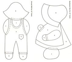 """A pinner labelled these as """"Overall Sam/Sunbonnet Sue"""" They're for cardmaking but would be great for applique, too. ;) Mo"""