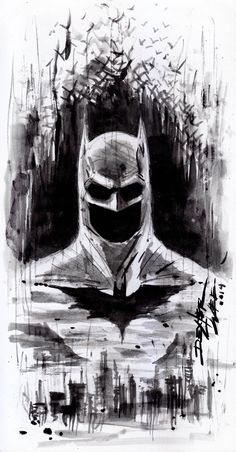 BATMAN SKETCH by Dexter Wee - i like the emptiness of the chin/eyes. i like the city outline but nothing too specific.