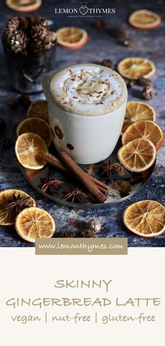 Skinny Gingerbread Latte - it is not only quick and easy to make but also delicious. It tastes like Christmas and is perfect to enjoy on a cold winter's day. #skinnygingerbreadlatte #gingerbreadlatte #coffee #vegan #veganrecipes #glutenfree #nutfree #christmas #christmasrecipes #christmasdrinks | lemonthymes.com