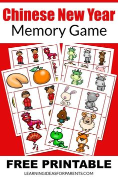 Help your child better understand Chinese New Year with this easy memory game. It includes 24 pictures all related to the holiday. New Year Words, Memory Games For Kids, Printer Paper, Matching Games, Chinese New Year, Fun Learning, Free Games, Free Printables, Have Fun
