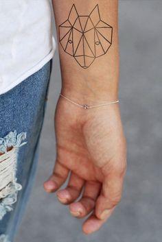 Geometric fox temporary tattoo by Tattoorary #tattoo #geometric #fox