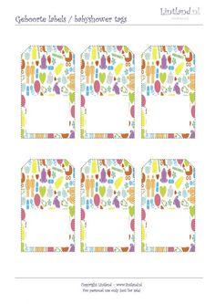 Voorbeelden/sjablonen - Geboorte labels / babyshower tags - freebies / free printable www.lintland.nl Labels, Babyshower, Free Printables, Stickers, Tags, Baby Shower, Free Printable, Baby Showers, Mailing Labels