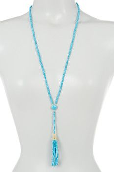 18k Gold Plated Sterling Silver Turquoise Tassel Necklace