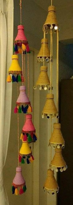 Cute idea to reuse plastic bottles. Could even add string lights. Total waste, Diwali creations made out of bottles, How to make floor mats/rugs wi,How to make decorative hanging from bottle - Simple Craft Crafts Plastic Bottles I Diy Crafts Hacks, Diy Home Crafts, Diy Arts And Crafts, Creative Crafts, Card Crafts, Empty Plastic Bottles, Plastic Bottle Crafts, Diy Bottle, Plastic Bottle Decoration