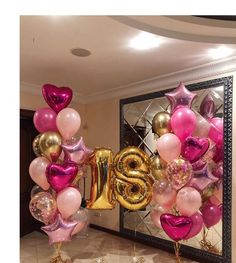 Birthday Goals, Happy 21st Birthday, 18th Birthday Party, Black And Gold Balloons, Pink Balloons, Birthday Balloons, 18 Birthday Party Decorations, Balloon Decoration For Birthday, Ideas Decoracion Cumpleaños