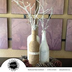 Add texture to a collection of wine bottles. This is a lovely projects with jute, just wrap wine bottles with jute to add pretty texture. Crafts To Do, Fall Crafts, Halloween Crafts, Christmas Crafts, Diy Crafts, Diy Bottle, Wine Bottle Crafts, Bottle Art, Wine Bottle Centerpieces