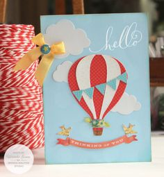 Card made with Brenda Walton's Hot Air Balloon Thinlits Set (incl. sentiment stamps) by Sizzix. Hand Made Greeting Cards, Greeting Cards Handmade, Kids Cards, Baby Cards, Cards Diy, Birthday Diy, Birthday Cards, Diy Hot Air Balloons, Baby Shower Invitaciones