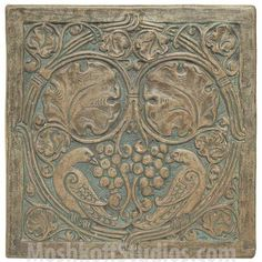 Batchelder tile, large deeply carved tile with birds in foliage. Love the subtle blue. The carving is so ornate! Many designs found at ARCHARIUM Antique Tiles, Vintage Tile, Craftsman Tile, Art Nouveau Tiles, Art Decor, Decoration, Decorative Tile, Arts And Crafts Movement, Tile Art