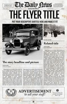 This old fashioned vintage newspaper front page looks like it came right from the It is bound to impress with its large format ledger size Try your creativity on this fully editable template Features Fully editable 1 page inches For Adobe Photoshop Newspaper Front Pages, Newspaper Cover, Vintage Newspaper, Newspaper Design, Newspaper Format, Newspaper Wall, Newspaper Layout, Times Newspaper, Template Flyer