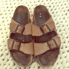 Brown leather Birkenstock sandals Brown Birks! Lots of life left! Brown sueded leather, some peeling to back easy fix w superglue! Birkenstock Shoes Sandals