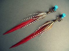 Feather Plugs 2g 0g 00g 1/2 Inch 9/16 - Plug or Tunnel Dangle Gauges with Tribal Feather Wire Wrap in VERMILIONAIRE Red Black White / PAIR