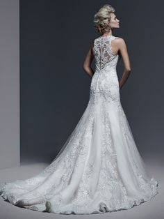 sottero and midgley bridal fall 2015 2016 thick lace straps v neckline embroidery drop waist a line gorgeous wedding dress demetria back -- Sottero and Midgley Fall 2015 Wedding Dresses Lace Wedding Dress, Fit And Flare Wedding Dress, Sweetheart Wedding Dress, 2015 Wedding Dresses, Formal Dresses For Weddings, Wedding Dress Sizes, Gorgeous Wedding Dress, Designer Wedding Dresses, Bridal Dresses