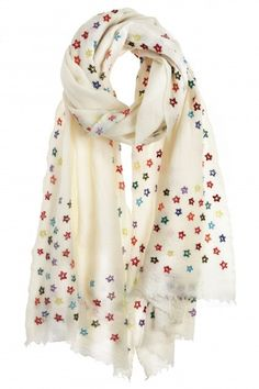 Shop for Faliero Sarti Skyful Embroidered Wool Gauze Scarf at ShopStyle. Embroidery Scarf, Hand Embroidery, Summer Scarves, Colorful Scarves, White Scarves, Woolen Scarves, Salwar Designs, Scarf Design, How To Wear Scarves