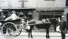London, ca 1910. Waterloo Street, Clifton (narrow turning off Princess Victoria Street) delivery cart owned by James Moffat of Bedminster.