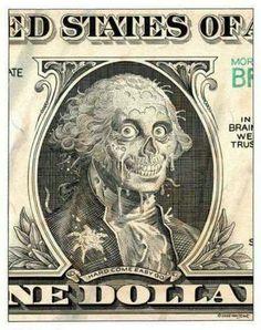 Money george washington zombie