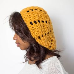 Hand Crocheted Beret Slouchy Dark Yellow Beanie by TagMeTrendy, $15.50