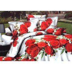 posteľná obliečka s motívom červených ruží First Night, Bedding Sets, Red Roses, Gift Wrapping, Table Decorations, 3d, Bed Sets, Blankets, Home Decor