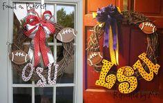 Sports team wreath I think we need a longhorn and cowboys wreath!