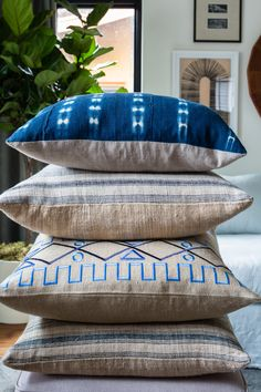 Once we saw Erica's love of all things blue-and-white, we knew we had to translate it into a collection of mix-and-match pillows! Indigo shibori and French grain sacks make the perfect combo, don't you think?