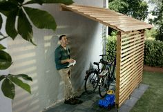 Amazing Shed Plans - Garage à vélos – Bikeport Now You Can Build ANY Shed In A Weekend Even If You've Zero Woodworking Experience! Start building amazing sheds the easier way with a collection of shed plans! Pool Storage, Outdoor Storage, Outdoor Toys, Kayak Storage, Bike Storage House, Bike Storage Narrow, Bike Storage Cover, Bicycle Storage Shed, Carport With Storage
