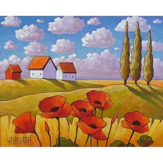 ORIGINAL PAINTING Folk Art Abstract Poppies Fields Modern Landscape Colorful…
