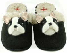 """Maybe a gift for me too..wonder if Shelby would """"attack"""" them.  Boston Terrier slippers for humans! from $18"""
