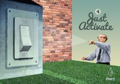 Just Activate | The Portl Process #onoff #on #off #giantswitch #pointing #collage #design #brick wall #cool