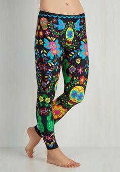 flash mob fab leggings - multi, red, orange, yellow, green, blue, black, novelty print, print, casual, halloween, vintage inspired, folk art, skulls, bird, skinny, fall, knit, best, mid-rise, ankle, non-denim