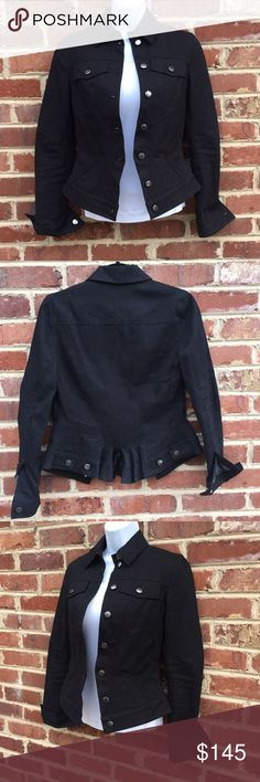 "Gwen Stefani Lamb Cotton Jacket Black Label Black Cotton Canvas Jacket by L.A.M.B Size 0 Excellent condition Thick, sturdy 100% cotton; lined with a poly cotton blend 22.5"" long; 16"" across armpits; 14.5"" across shoulders Sleeves are lined with black and white ticking stripe, if you want to roll them up • cute peplum detailing in the back • L.A.M.B. Jackets & Coats"