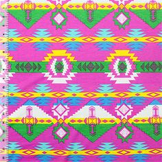 Magenta Navajo Tribal Cotton Jersey Blend Knit Fabric