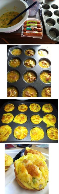 Cheap & Easy! Just how I like my breakfast. :-) Low Carb, Low Calories. Mix 8 eggs, 1 cup of shredded cheese, diced green onion, Johnsonville Chicken Sausage (with real apples), 1 tbsp of salt, 1 tbsp of pepper, and a little garlic salt. Bake at 350 for 30 minutes. Filled me up for a week and saved a lot of time and money for breakfast.