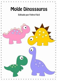 Photo - Her Crochet Felt Crafts, Diy And Crafts, Crafts For Kids, Felt Patterns, Applique Patterns, Die Dinos Baby, Dinosaur Pattern, Dinosaur Template, Diy Bebe