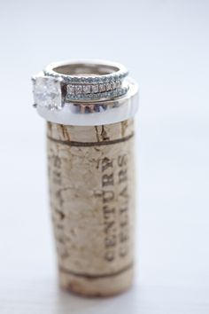 Rings on cork of the first bottle of wine as a married couple.
