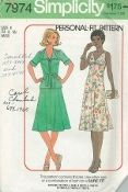 An original ca. 1977 Simplicity Pattern 7974.  Misses' Bias Dress and Unlined Jacket:  The top-stitched dress has front gathers and back zipper.  Top-stitched jacket gathered to yoke has front facing, forming collar, back gathered to inset, tie ends and short set-in sleeves with turn back cuffs.