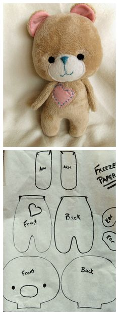 New sewing toys animals diy ideas - Stofftiere Sewing Stuffed Animals, Stuffed Animal Patterns, Sewing Crafts, Sewing Projects, Sewing Diy, Sewing Ideas, Sewing Patterns, Bear Patterns, Craft Projects