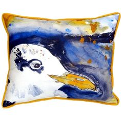Gull Portrait Right Extra Large Zippered Indoor or Outdoor Pillow 20x24 Extra large indoor/outdoor pillows with a zippered cover and a removable polyfill insert. Square pillows measure 22x22 and rectangular pillows measure 20x24.