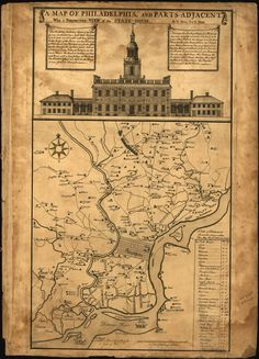A hand-drawn map of the city of Philadelphia and surrounding areas. At the top of the map is a large drawing of Independence Hall. Independence Hall, Today In History, Brotherly Love, Old Maps, World Cities, Vintage Maps, Historical Maps, Map Art, Stretched Canvas Prints
