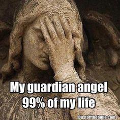 Truth, my guardian angel needs platinum wings! Funny Christian Memes, Christian Humor, Christian Faith, Sarcastic Quotes, Funny Quotes, Funny Memes, Hilarious, Guardian Angel Quotes, Funny Spiritual Memes