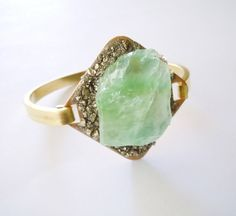 Pyrite and Green Calcite Mineral Bracelet- Raw Stone Jewelry- Boho Glam