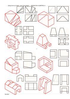 Blog sobre dibujo técnido de bachillerato. Sistema Diédrico. Drawing Lessons, Drawing Techniques, Basic Sketching, Technical Drawing, 3d Drawings, Drawing Sketches, Isometric Drawing Exercises, Orthographic Drawing, Architecture Drawing Sketchbooks