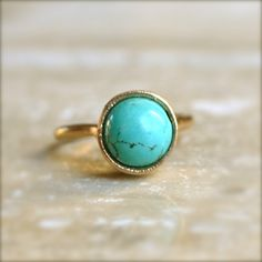 Turquoise Gold Ring by illuminancejewelry on Etsy, $29.00