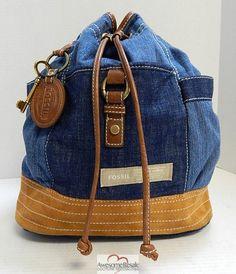 """Fossil """"Long Live Vintage"""" Denim Leather Sling Backpack Bag"""