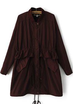 Dark Red Plain Drawstring Trench Coat
