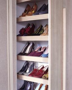 Normally used in kitchens, a pull-out pantry becomes a shoe closet when the shelves are installed at an angle; professional assistance is recommended for this project. Nonskid shelf liners prevent pairs from sliding when the unit moves.