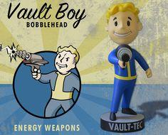 The Bethesda Store - Vault Boy Energy Weapons Bobblehead - - Figures - Collectibles Fallout 4 Vault Tec, Fallout Weapons, Pip Boy, Bethesda Games, Head Shop, Elder Scrolls, Retro Art, Bobble Head, Skyrim