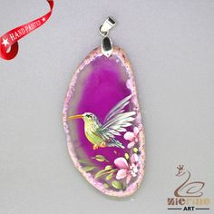 HAND PAINTED HUMMINGBIRD PENDANT FOR NECKLACE GEMSTONE WITH SILVER BAIL ZL807745 #ZL #Pendant